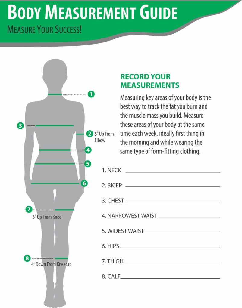 image of body measurement guide for PFC